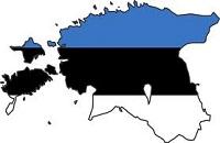 Эстония на карте в цвет флага